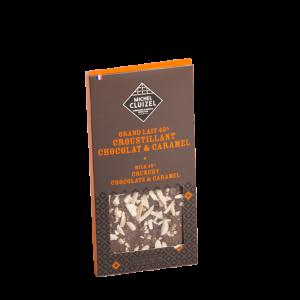 Tablette Grand Lait 45% croustillant chocolat, caramel .